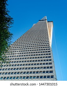 San Francisco, CA, USA, October 2016: The Transamerica Pyramid viewed from below. The Transamerica Pyramid was the tallest building in San Francisco until 2018