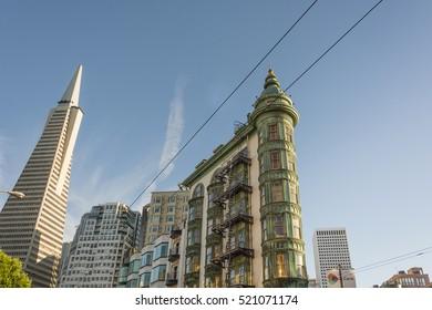 San Francisco, Ca, USA, October 22, 2016: Transamerica Pyramid The Coppola building viewed from Columbus Avenue