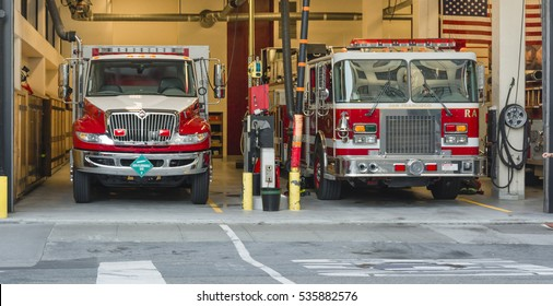 San Francisco, CA, USA, october 23, 2016: Fire truck in the firegouse in San Francisco