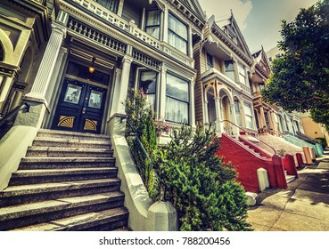 San Francisco, CA, USA - October 30, 2016: World famous Painted Ladies in Alamo square