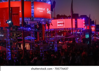 SAN FRANCISCO, CA, USA - SEPT 22, 2013: Outdoor pavilion of Oracle Open World conference opened at Howard street near Moscone Center in the evening on Sept 22, 2013 in San Francisco, CA, USA.