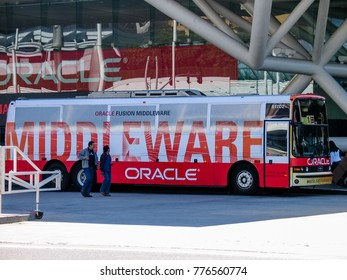 SAN FRANCISCO, CA, USA - SEPT 18, 2005: Bus for attendees of Oracle OpenWorld conference transportation at Moscone Center in San Francisco on Sept 18, 2005.