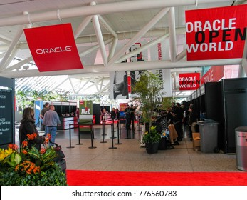 SAN FRANCISCO, CA, USA -  SEPT 18, 2005: Registration desk in Moscone South convention center on the eve of opening of Oracle OpenWorld conference on Sept 18, 2005 in San Francisco, CA.