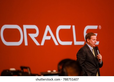 SAN FRANCISCO, CA, USA - SEPT 23, 2013: Oracle president Mark Hurd makes speech at Oracle OpenWorld conference in Moscone center on Sept 23, 2013.