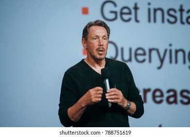SAN FRANCISCO, CA, USA - SEPT 22, 2013: CEO of Oracle Larry Ellison makes his speech at Oracle Open World conference in Moscone center on Sept 22, 2013.