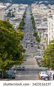 San Francisco, CA / USA - September 4th, 2012: Lombard Street as seen from the top of Russian Hill