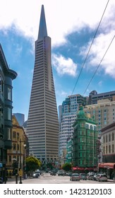 San Francisco, CA / USA - September 4th, 2012: Transamerica Building and Columbus Tower seen from Columbus Ave