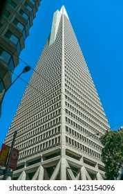 San Francisco, CA / USA - September 4th, 2012: The Transamerica Pyramid in the Financial District / Low angle