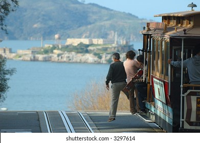 San Francisco cable car and view of alcatraz island