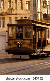 San Francisco Cablecar climbing up the California Street.