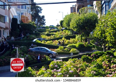 San Francisco, California, 09/24/2009 steep winding stretch of famous Lombard Street in San Francisco
