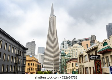 SAN FRANCISCO, CALIFORNIA. 16 th August, 2017: famous san francisco skyline with transamerica pyramid at background