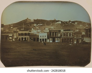 San Francisco, California in 1851. Daguerreotype of Portsmouth Square with restaurants and shops.