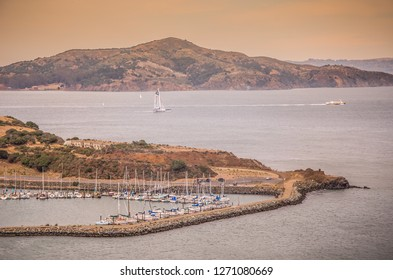 SAN FRANCISCO, CALIFORNIA - 2015, JULY 01:  Crissy Field view from Golden Gate Bridge, Marina, ships and boats