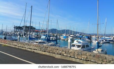 San Francisco, California - 21 November 2019: Golden Gate Yacht Club on Marina Boulevard