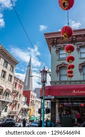 san francisco. california. 25 april 2018: view of the transamerica pyramid from china town.