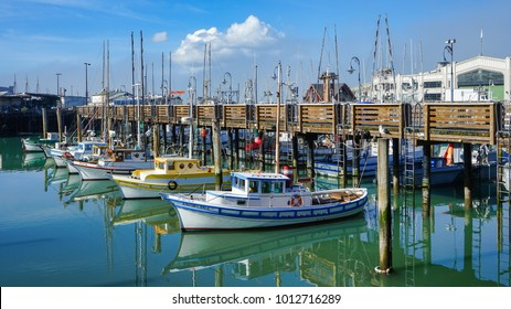 San Francisco, California - 25 January 2018: Fishermen's boats docked at Pier 39.