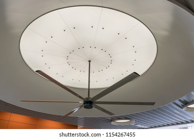 San Francisco, California - August 11, 2018: A ceiling fan on the bus transportation level with light details.