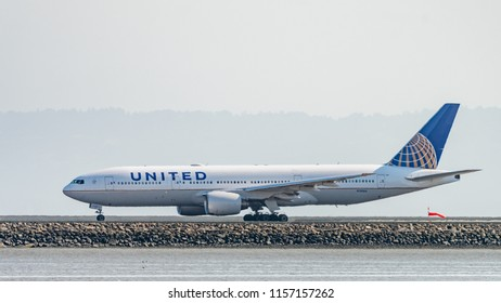 San Francisco, California - August 12th 2018:  United Airlines Boeing 777-222 registration N781UA lands at San Francisco Airport .