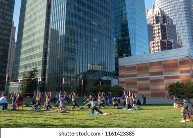 San Francisco, California - August 14, 2018: At the Salesforce rooftop park a free yoga class