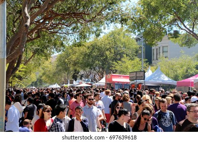 San Francisco, California - August 16, 2014: La Cocina's San Francisco Street Food Festival. Tens of thousands of people attend the annual event featuring street food from vendors in the Bay Area.