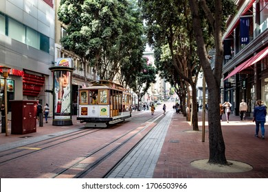 San Francisco, California - August 21 2019: Cable Car, a unique transportation of San Francisco.