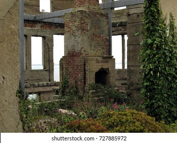 San Francisco, California - August 29, 2017: Interior of remains of Warden's House on Alcatraz Island.