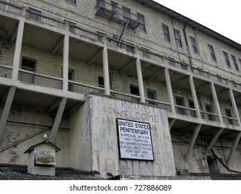 """San Francisco, California - August 29, 2017: Sign on barracks at Alcatraz Island with graffiti stating """"Indians Welcome."""""""