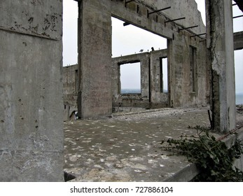 San Francisco, California - August 29, 2017: Remains of Officer's Club at Alcatraz Island.