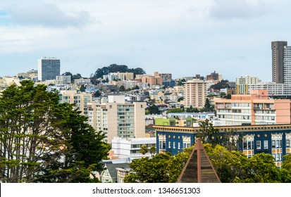San Francisco , California Cityscape Skyline city buildings towers hotels and rooftops , across Bay Area living areas