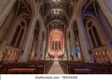 San Francisco, California - December 28, 2017: Interior of Grace Cathedral Church