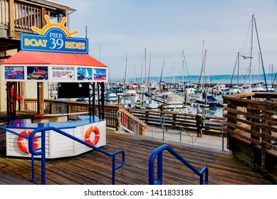 San Francisco, California - February 01 2019: Pier 39 is a shopping mall and tourist attraction built on a pier in San Francisco, California. It was developed by entrepreneur Warren Simmons