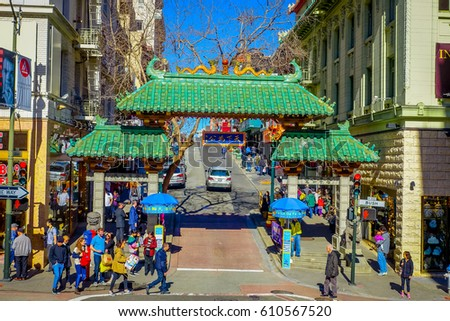 San Francisco, California - February 11, 2017: China town in San Francisco, a popular cultural site in the touristic city.