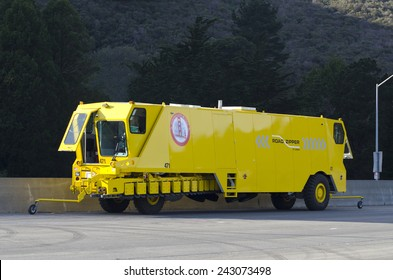 SAN FRANCISCO, CALIFORNIA  JANUARY 10, 2015: The Road Zipper a truck specially designed to move a newly assembled movable median barrier on the Golden Gate Bridge waits for first use.