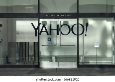 SAN FRANCISCO, CALIFORNIA - JANUARY 28, 2017: The Yahoo merger with Verizon has been delayed because of disclosures by Yahoo of massive security breaches.