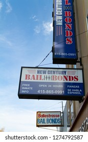 San Francisco, California - January 3rd, 2019: Bail Bonds Signs on Bryant Street Across from the County Jail