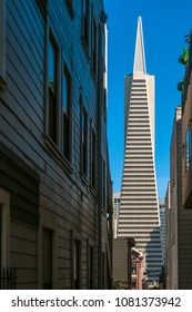 SAN FRANCISCO, CALIFORNIA - JULY 5, 2007: The Transamerica Pyramid skyscraper seen through an alley in San Francisco, California.
