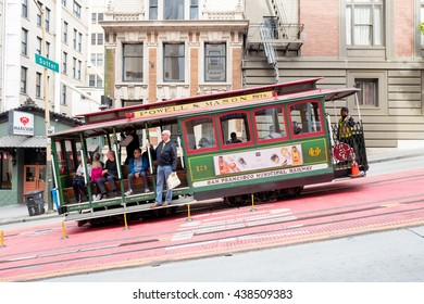 San Francisco, California - June 13th, 2016: Powell Hyde cable car, an iconic tourist attraction. The San Francisco cable car system is the world's last manually operated cable car system.