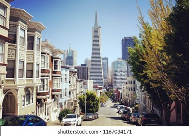 SAN FRANCISCO, CALIFORNIA - JUNE 28TH 2018: Looking downtown through residential streets  to the Transamerica Pyramid building