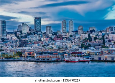 SAN FRANCISCO, CALIFORNIA - May 14, 2016:  San Francisco is the 13th-most populous city in the U.S. and is known for its cool summers, fog, rolling hills, eclectic mix of architecture, and landmarks