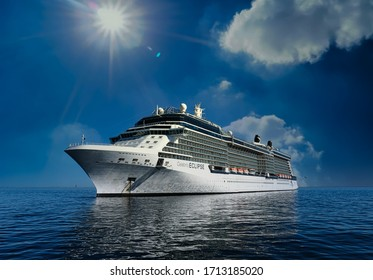 SAN FRANCISCO, CALIFORNIA - November 17, 2019: Royal Caribbean operate over 25 ships and owns Celebrity Cruise Lines