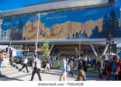 San Francisco, California - November 6th, 2017; Outside Moscone Center where the Dreamforce conference is being held.
