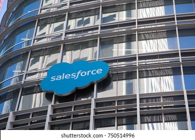 San Francisco, California - November 6th, 2017; Salesforce logo on the Saleforce Tower on the corners of 1st, Mission and Fremont Streets.