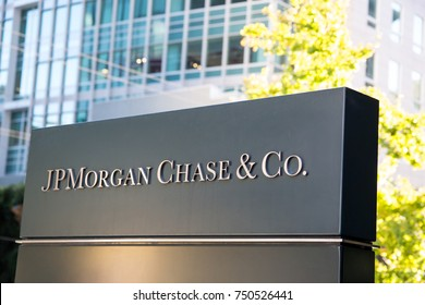 San Francisco, California - November 6th, 2017; The Sign outside JP Morgan Chase & Co on Mission Street.