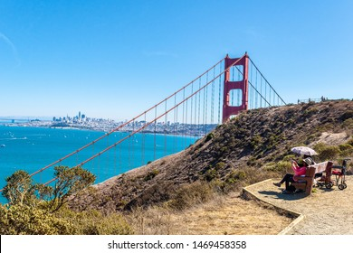 San Francisco, California - October 06 2017: People /Tourists sightseeing overlooking Golden Gate Bridge and coastal landscape from Battery Spencer near Sausalito city in Marin County
