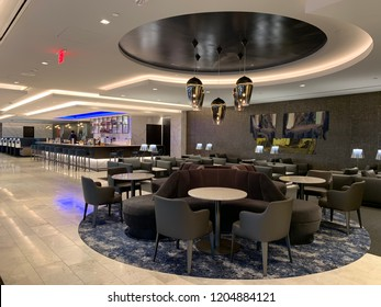 San Francisco, California, October 16, 2018: Inside United Airlines Polaris Lounge at the San Francisco Airport
