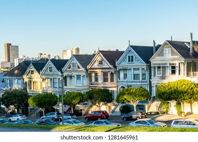San Francisco, California - October 5, 2017: Painted Ladies from the sitcom Full House. Row of beautiful Victorian style architecture buildings. Popular tourist attraction in the famous city.