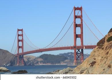 SAN FRANCISCO, CALIFORNIA - SEPTEMBER 1, 2010: Golden Gate Bridge taken from Baker Beach on September 1, 2010. The beach is a well known location near San Francisco's Golden Gate Park.