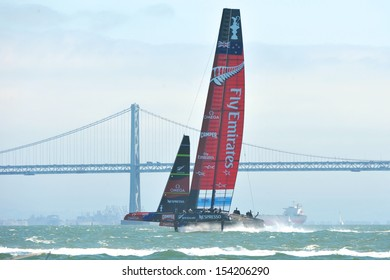 SAN FRANCISCO, CALIFORNIA � SEPTEMBER 14: Oracle Team USA and New Zealand sail at high speed during the finals race 8 at the America�s Cup Finals on September 14, 2013 in San Francisco, California.