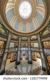 San Francisco, California - September 16, 2018: Interior of San Francisco Columbarium.